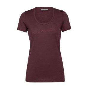 Icebreaker Women's Tech Lite Short Sleeve Scoop T-Shirt Global Heat Index Redwood