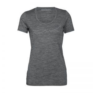 Icebreaker Women's Tech Lite Short Sleeve Scoop T-Shirt Global Heat Index Gritstone Heather