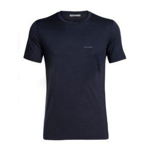 Icebreaker Men's Tech Lite Short Sleeve Crewe T-Shirt Wordmark Midnight Navy